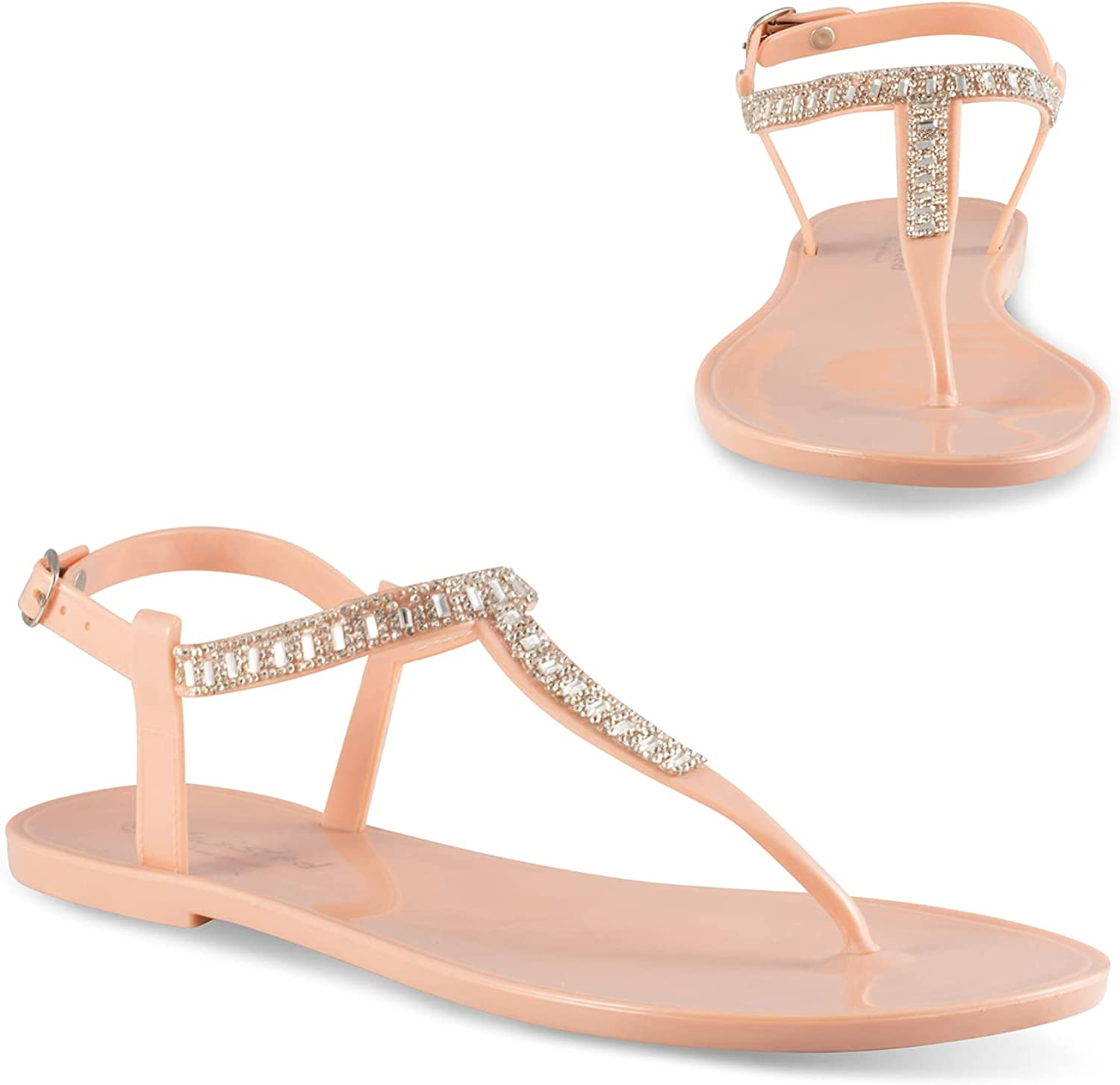 Twisted 40% OFF Cheap Sale Justina 67% OFF of fixed price Women's Sandals T-Strap Rhinestone Studded
