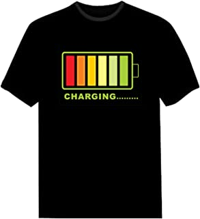 a74dd15af LED Flashing Shirt Sound Activated Fashion Black Cotton T-Shirt for Night  Club Wear Party