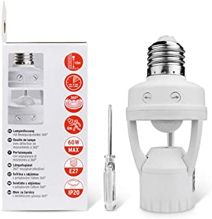 Motion Sensor Light Socket,PIR Motion Detector Socket E26/E27 Bulb Socket Adapter,Adjustable Time&LUX(Screw Driver Included),Auto On/Off Night Light Adapter, Applied in Garage,Porch,Basement,Closet
