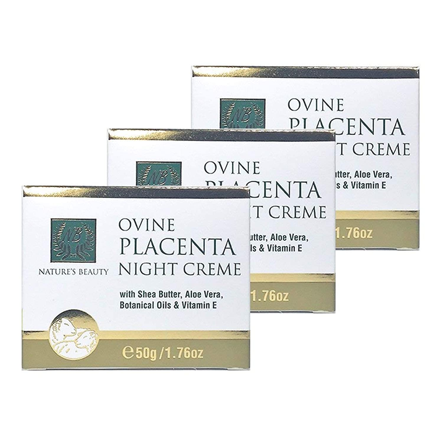 謙虚不明瞭ファントムNature's Beauty シアバター、アロエベラ、植物油&ビタミンEと羊プラセンタナイトクリーム50G(3パック) [並行輸入品]