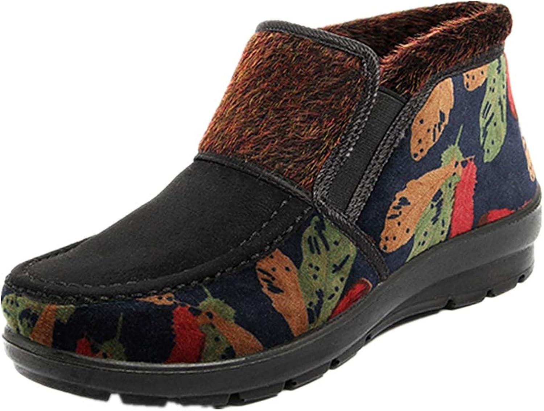 Women's Winter Suede Flower Print Faux Fur Lined Snow Boots Warm Sneakers (Black, US 5.5)