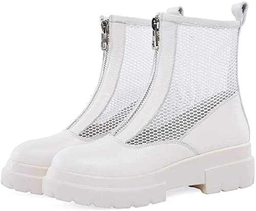 YTTY Bottes Cool Femmes Avant Fermeture éclair éclair Printemps Maille Sandales Chaussures Grande Taille, Beige, 42  mode