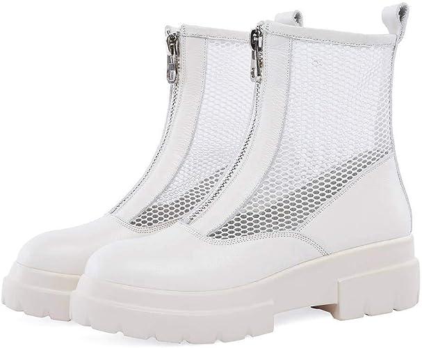 YTTY Bottes Cool Femmes Avant Fermeture éclair Printemps Maille Sandales Chaussures Grande Taille, Beige, 35