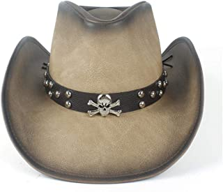 QinMei Zhou Women's Men's Leather Western Cowboy Hat With Leather Band
