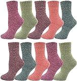 Womens Wool Socks, 10 Pairs Cozy Thick Knit Winter Vintage Crew Socks Warm Bulk Pack (Assorted)