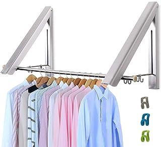LIVEHITOP Cintre Pliable Mur 2 Pièces, Aluminium Pliant Clothes Hanger Organisateur avec des Crochets pour Salon, Chambre,...