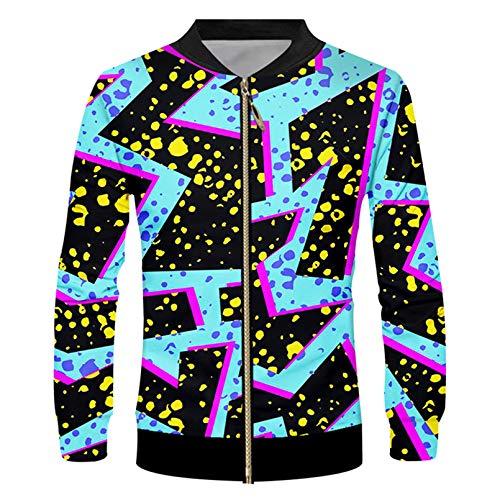 Negro Blanco Leopardo Impresión Hombre Chaqueta Zip Impresa 3D Medio Y Largo Sección Larga Casual Tamaño Grande Tamaño Coger Chitcher Checter Sky Blue XL