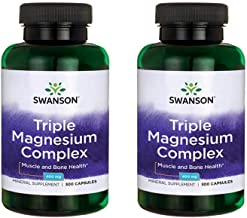 Swanson Triple Magnesium Complex Absorption Bone and Mood Health Citrate Oxide and Aspartate Combination Supplement 400 mg 300 Capsules (2 Pack)