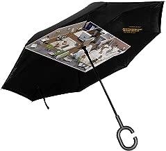 James Bond Goldfinger Floor Plan Double Layer Inverted Umbrella For Car Reverse Folding Upside Down C-Shaped Hands - Lightweight & Windproof – Ideal Gift