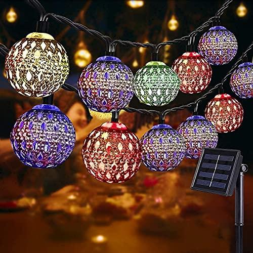 NLNEY LED Solar Marokkanische Lichterketten Außen, 7M 50er Goldene hohle Lichterkette Aussen, 8modi Solar Wasserdicht Lichter Beleuchtung für Garten, Terrasse, Hof, Haus, Festival(Lichtfarbe:Bunt)