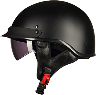ILM Half Helmet Motorcycle Open Face Sun Visor Quick Release Buckle DOT Approved Cycling Motocross Suits Men Women (XL, MATT BLACK)