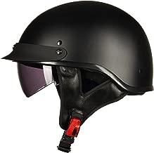 ILM Motorcycle Half Helmet Sun Visor Quick Release Buckle DOT Approved Half Face Cycling Helmets for Men Women (XL, MATT BLACK)