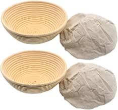 2pcs 8.5in Banneton Rattan Bread Proofing Basket Round Cane Baking Bowl Brotform Bread Dough Proofing Bowl Proving Rising ...