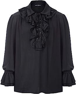 SCARLET DARKNESS Camicia da Pirata Uomo Gotico Medievale Steampunk Rinascimentale Manica Lunga Vintage Jabot Pizzo Pizzo V...