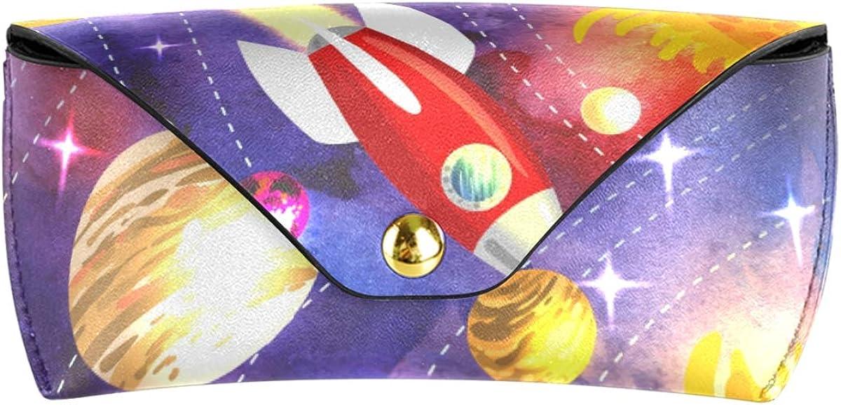 School Multiuse Deep Space Planet Portable Sunglasses Case Eyeglasses Pouch PU Leather Goggles Bag
