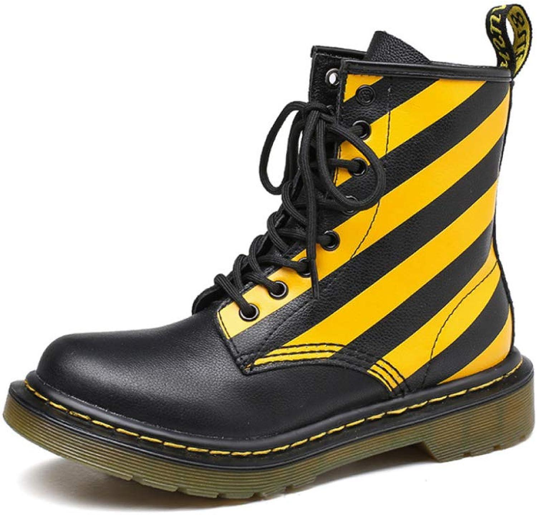 PLNXDM Martin Stiefel Für Damen Retro-Stiefel Aus Leder Outdoor-Kampfstiefel Wintergleiter Und Wasserdichtes Unisex  | Lass unsere Waren in die Welt gehen