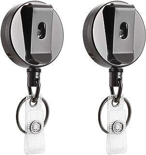 2 pièces Porte Badge Tour de Cou Retractable Porte Clef Retractable Câble Acier Key Chain Reel avec Yoyo et Cordon Résista...