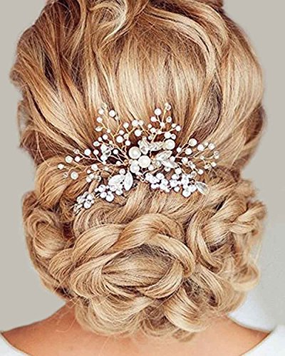 Simsly– Hochzeits-Haarschmuck, Haarkamm, Brautschmuck, Accessoires für Braut und Brautjungfer (silberfarben).