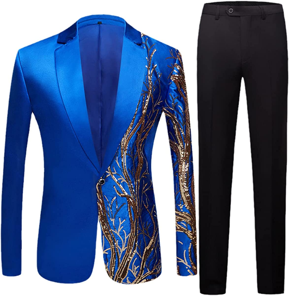 Men's Black Sequined Party Fashionable Slim Max 40% OFF fit Blazer Wedding