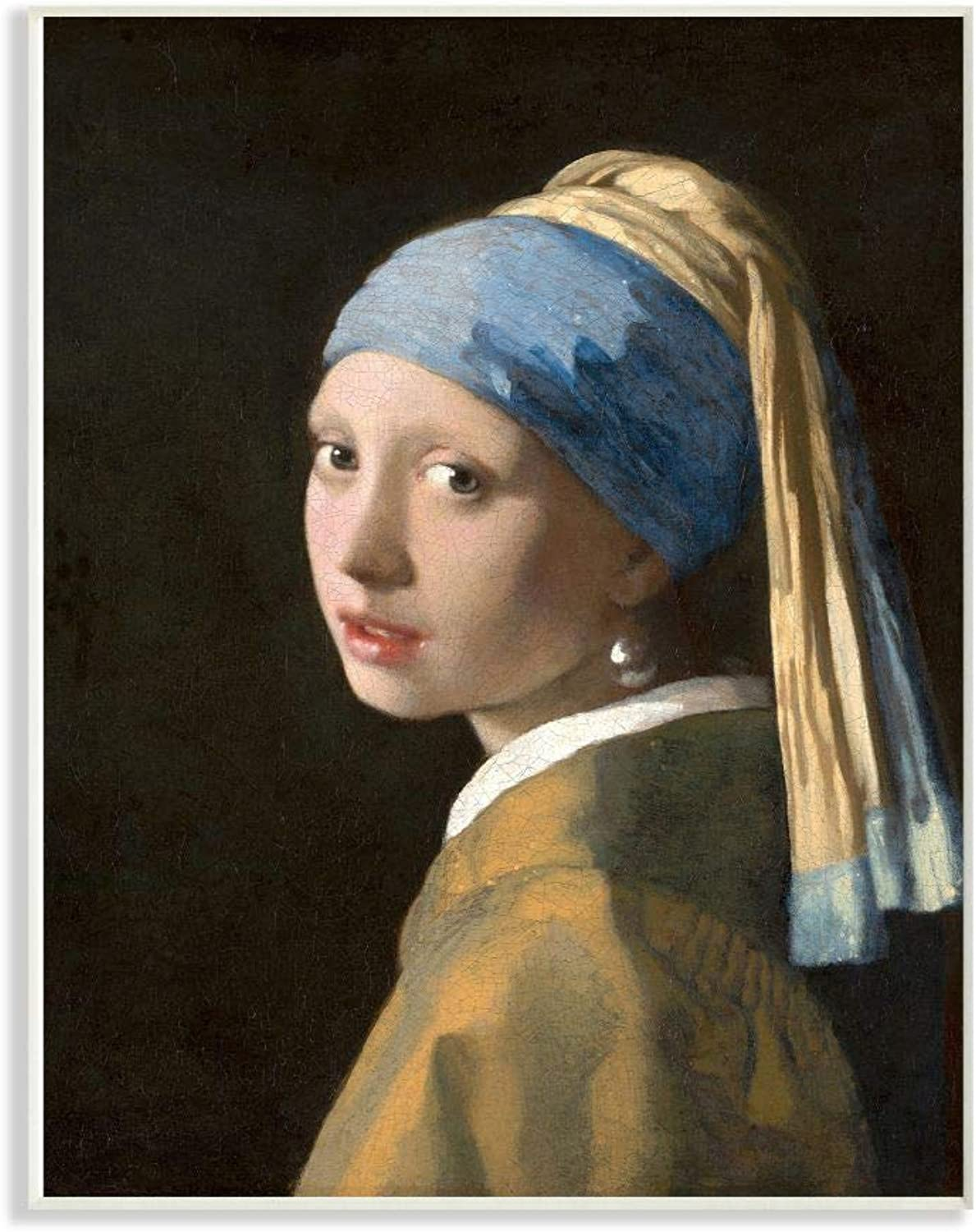 The Stupell Home Decor Collection ffa-109_wd_12x18 Vermeer Girl with A Pearl Earring Classical Portrait Painting Wall Plaque Art, 12 x 18