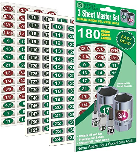 """Mechanics Master Set """"Economy Edition"""" ( Green) 180 Piece Chrome foil Labeling Set for Socket Sets 1/4"""", 3/8"""", 1/2"""" Drives, Torx, Jumbo's and Extra Sizes, tag 180 Sockets """"Quick and Easy""""…"""