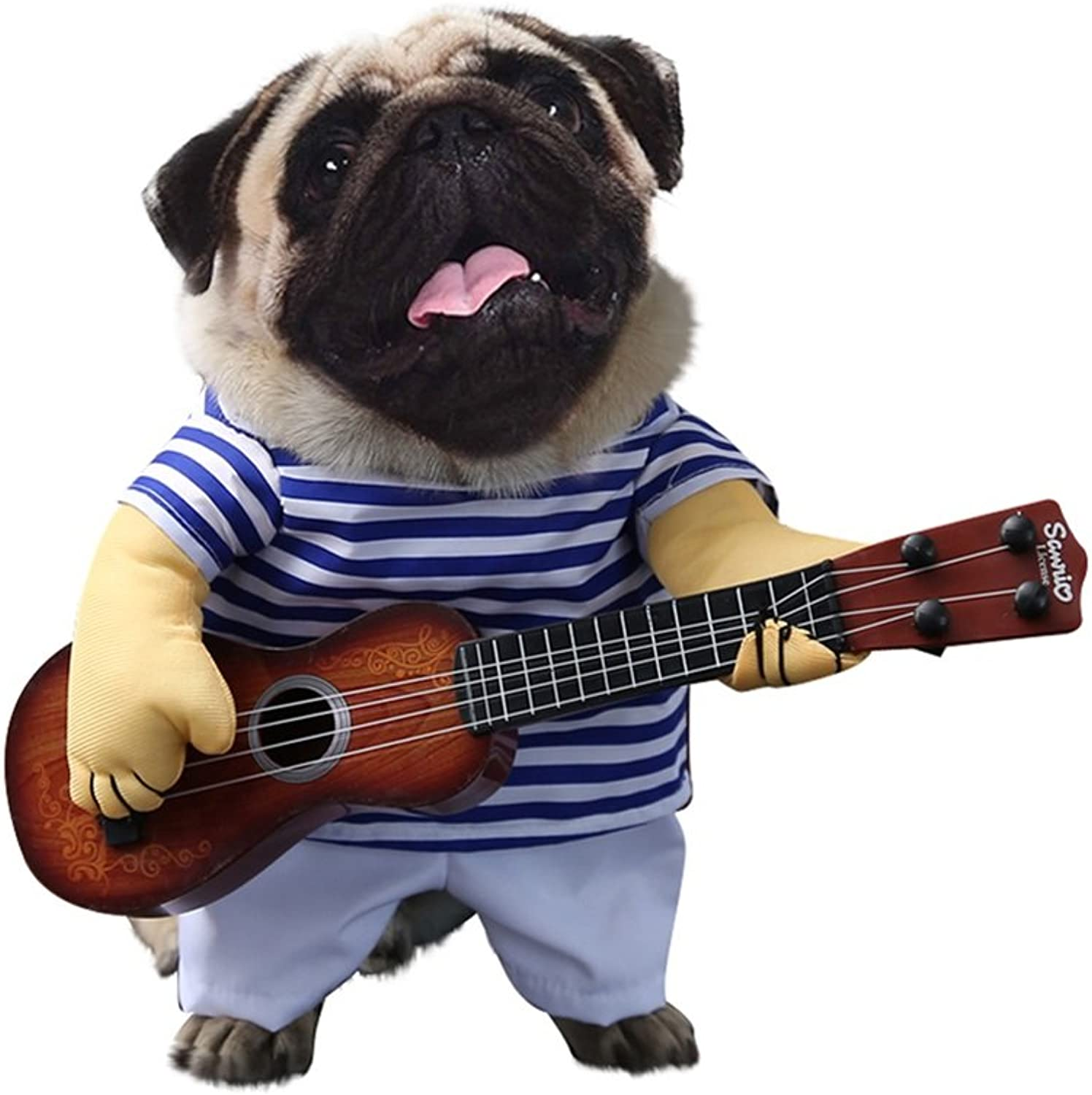 Albabara Fancy Halloween Pet Costumes with Guitar Design Funny Clothing Dog Cat Suit Stripes Dressing up Party Apparel Without Wig