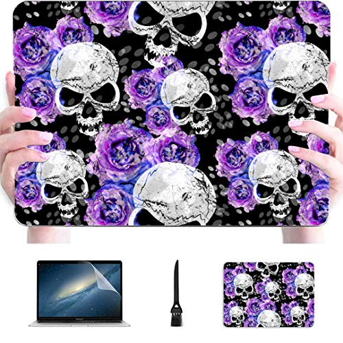 Macbook Pro Accessories Sugar Skulls And Lavender Purple Flowers On Gothic Plastic Hard Shell Compatible Mac Air 13' Pro 13'/16' Air Case Protective Cover For Macbook 2016-2020 Version