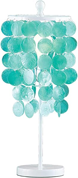 Collections Etc Hanging Capiz Shells Sparkling Tabletop Lamp Decorative Tabletop Light For Any Room In Home