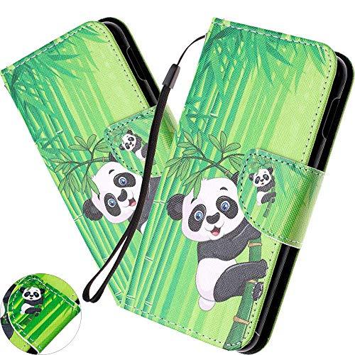 Preisvergleich Produktbild HMTECH für iPhone 11 Pro Hülle, iPhone 11 Pro Handyhülle Tier Panda Blume Mädchen Flip Case PU Leder Cover Magnet Schutzhülle Tasche Skin Ständer Handytasche für iPhone 11 Pro, HX Climb Panda