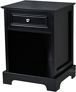 Giantex End Table W/ 1 Drawer and Open Shelf for Home Living Room Furniture Chest Sofa Side Bedside Storage Nightstand (Black)