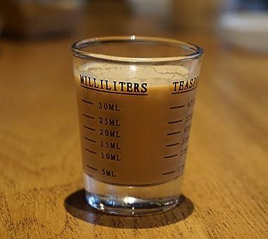 Shot Glasses Measuring Cup Liquid Heavy Glass Wine Glass Espresso Shot Glass 26-Incremental Measurement 1 OZ 4 Features 45ML