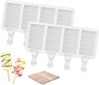 Ozera 2 Pcs Popsicle Molds, 4-Cavities Ice Pop Molds Homemade Ice Cream Mold Easy Release Silicone Popsicle Molds for Kid ...