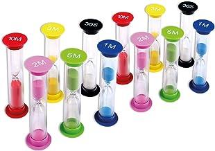 Schramm® 12 stuks zandloperset met 6 verschillende tijden, zandloper, zandloper, eierhorloge, korte klok, 12 stuks