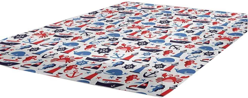 LCGGDB Las Vegas Max 73% OFF Mall Nautical Fitted Sheet Full Size Wheel Steering Carto Crab