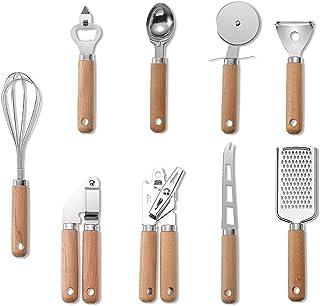 Ustensiles de Cuisine 9 pcs, Set de Cuisine en Acier Inoxydable et Poignée en Bois, Accessoires de Cuisine, Set de Cuisson...