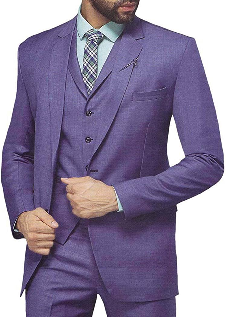 INMONARCH Mens Purple 6 Pc Tuxedo Suit Grooms Two Button TX1033