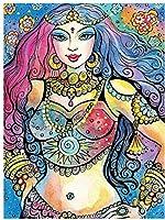 NC88 Diy5Dダイヤモンドペインティングキットフルドリル漫画の女の子刺繍女性カラフルなモザイク描画ラインストーンパズル画像ウォールステッカー家の装飾12x16インチ(フレームレス)