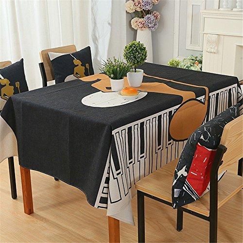 Nappe, Tissu de Table,Nappe de Table Un Simple carré Coton et Tissu d'impression numérique Linge Maison Art Noir Life Table Cloth,140x180cm