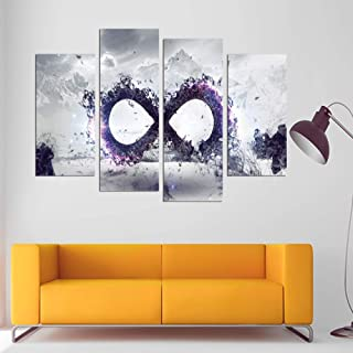 WSNDGWS Hd Inkjet Creative Four Fight Snow Scene Two Circles Abstract Oil Painting Without Picture Frame A3 40x80cmx2 40x100cmx2