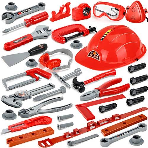 GeyiieTOYS Kinder Werkzeugset, Kinderwerkzeug Werkzeug Spielzeug Handwerker Set Kinder Rollenspiel Geschenke für 3 4 5 jährige Mädchen Jungen - 37 teiliges