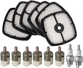SaferCCTV 6pcs Air Filter 6pcs 125-527 125-527-1 Fuel Filter 2pcs Spark Plug Echo SRM 210 225 HC150 Trimmer Blower Replace 13031054130 A226001410