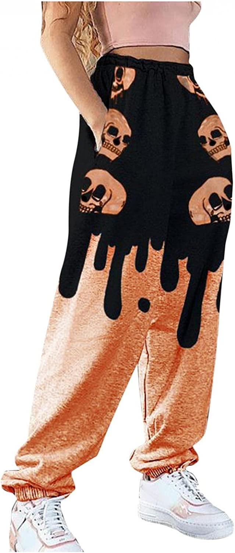 LEIYAN Halloween Womens Lantern Pants Funny Pumpkin Skull Print Stylish Wide Leg Loose Fit Lounge Pants