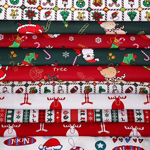 10 Pieces Christmas Cotton Fabric Bundles 18 x 22 Inch Sewing Squares Bundle Multi-Color Fabric Patchwork Christmas Tree Fat Quarters Precut Santa Claus Fabric Scraps for Christmas DIY Quilting
