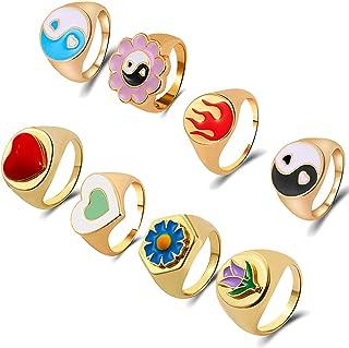 SOOWOOT 8PCS Chunky Ring - Y2K Chunky Enamel Rings Trendy Heart Yin Yang Daisy Flower Rings Gold Plated Minimalist Stackin...