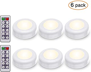 Tomshine 6 pack Under Cabinet Lights with Remote Control Battery Powered RGBW Timing Function Dimmable LED Cupboard Puck Light for Kitchen Closet Counter Wall 3AA (Battery Not Include)