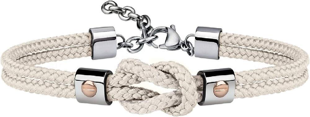 Breil, bracciale per uomo, in acciaio e cordura, con dettagli preziosi in oro 9k, bianco