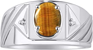 RYLOS Mens Ring with Oval Shape Gemstone & Genuine Sparkling Diamonds in Sterling Silver .925-8X6MM Color Stone Birthstone
