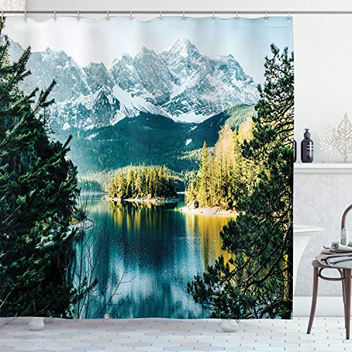 """Ambesonne Landscape Shower Curtain, Mountain Lake in Northern Germany with Frozen Peaks Water in Winter Season Life, Cloth Fabric Bathroom Decor Set with Hooks, 70"""" Long, Green White"""