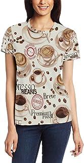 XiangHeFu T-shirt voor vrouwen meisjes koffie thee tijd aangepaste korte mouw