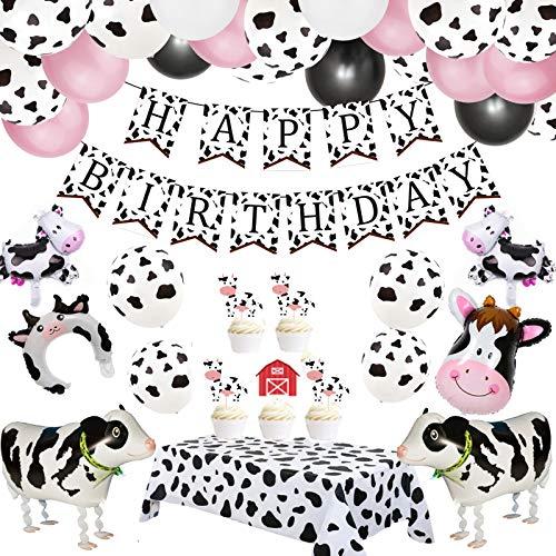 Kuh Party Luftballons, 63 Stück Bauernhof Party Luftballons Satz von Kuh Ballons Kuh Geburtstags Banner, Folienballons für Kuh Themen Party, Cow Tischdecke für Kindergarten Dekoration